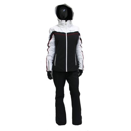 LADIES 2-PC-SUIT COMPLETE 2029S black-white-ruby